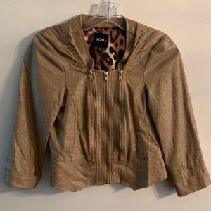 XOXO coat  size: small color: tan with gold specs